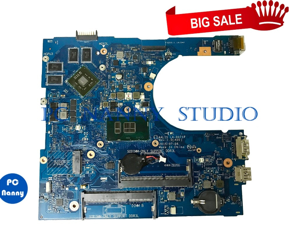 PCNANNY 0YV11C YV11C LA-D071P لديل انسبايرون 15 15 5559 اللوحة المحمول i7-6500U DDR3L اختبار