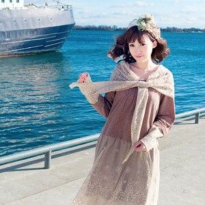 Rockabilly Crochet Bohemian Hipppie Boho Embroidery Harajuku Tunique Femme Lace Cotton Mesh Suede Scarf Thick Women Autumn Dress