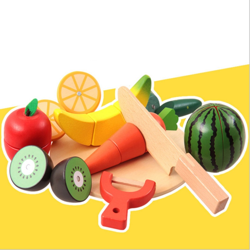Деревянные фрукты овощи блоки игрушки игровой дом Монтессори строительные n