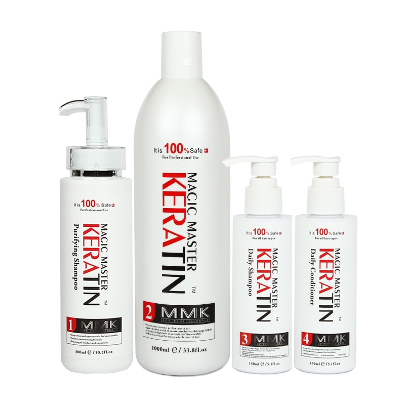 Good Smelling Magic Brazilian Keratin Hair Treatment Set Purifying Shampoo & Daily Shampoo And Conditioner Straight Repair Hair