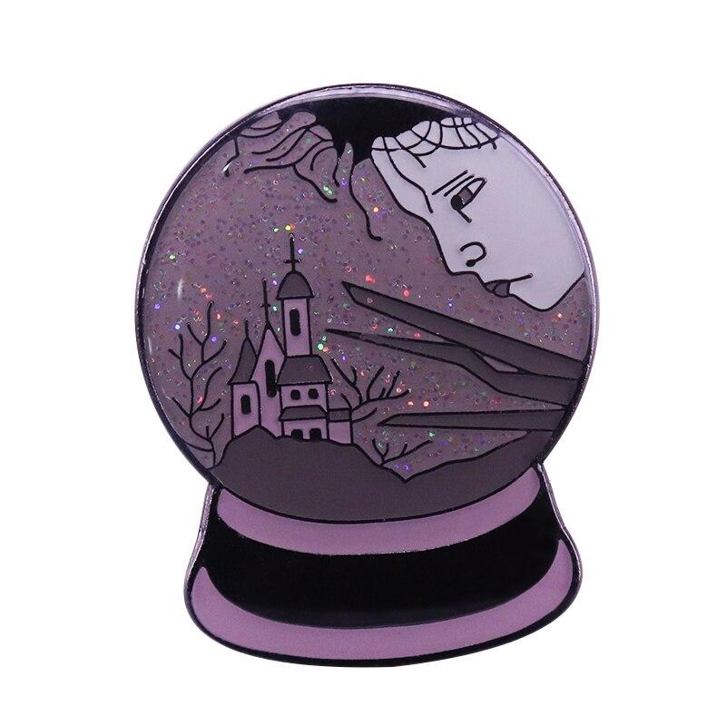Edward Manos de tijera globo de nieve brillo pin Castillo de fantasía placa hermosa y triste obra de arte
