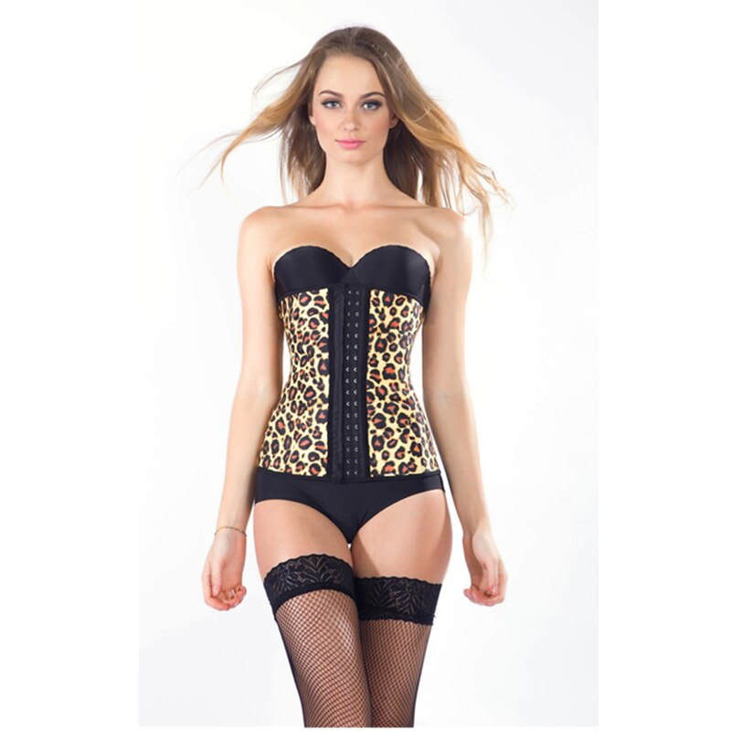 Hot sale 4 Steel Bone Shapewear Leopard Corset Latex Waist Trainer Cincher Waist Corset Leopard Print Bustier