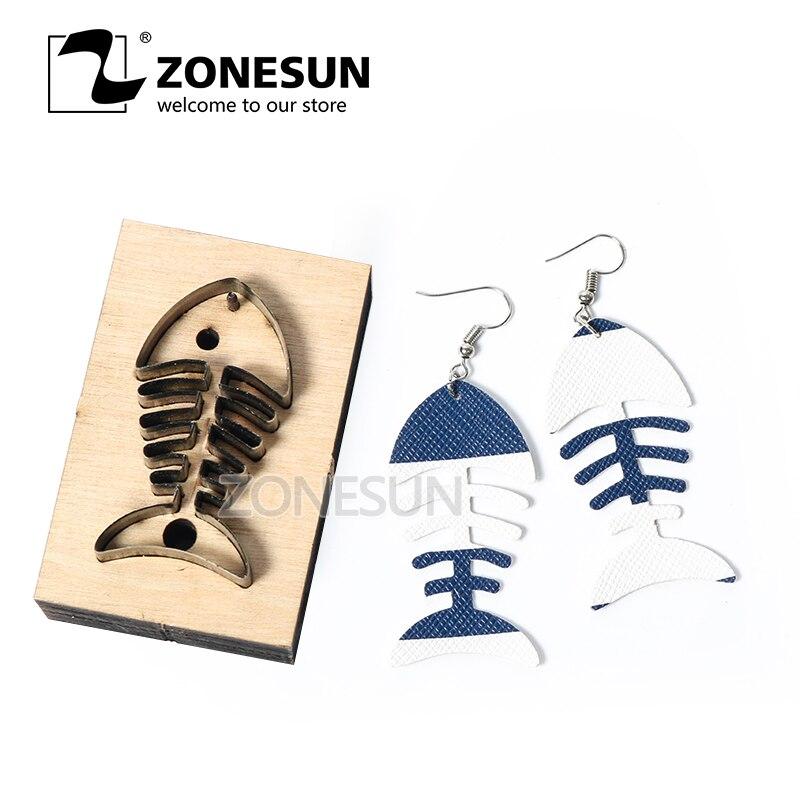 ZONESUN, herramienta de decoración de cuero para corte de pendientes de cuero de espina de pescado, plantillas de papel, herramienta de decoración de cuero para troqueladora, cortador de artesanía Diy