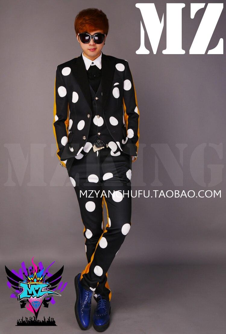 Noite clube cantores masculinos realizar trajes a versão coreana dos homens na moda magro preto amarelo retalhos polka dot terno dj jaqueta