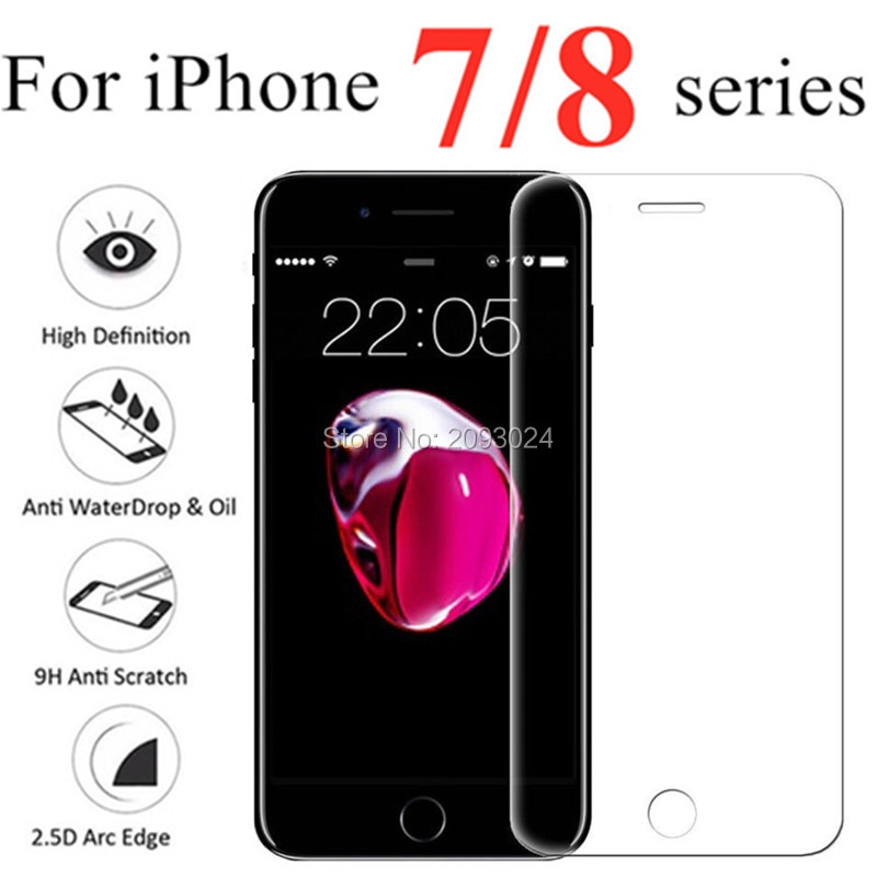 Tempered Glass on for iphone 7 8 Plus Screen Protector for iPhone7 i7plus i8 verre trempe cristal Pr