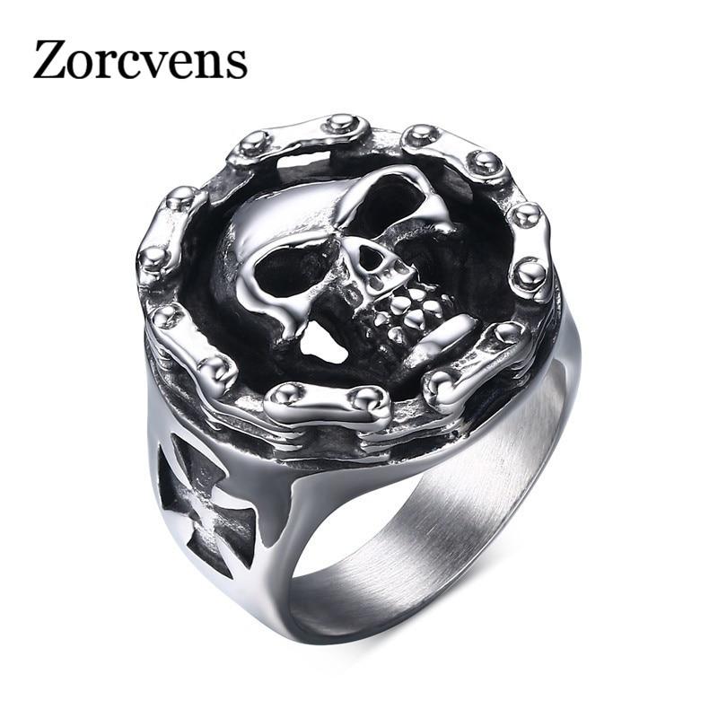 ZORCVENS New Punk Style Finger Ring of Male Gift New Fashion Carbon Fiber Titanium Steel Men's Ring