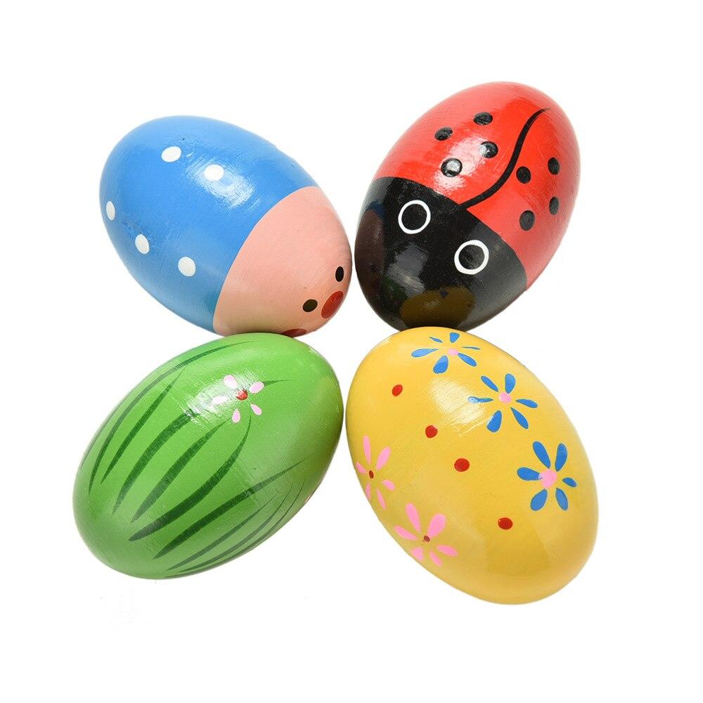 Crianças coloridas de Ovos De Areia de Madeira Instrumentos Musicais de Percussão Brinquedos Cores Aleatórias