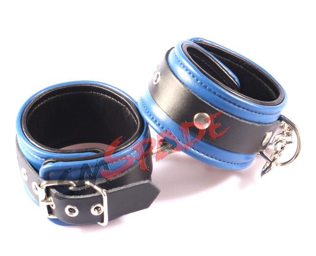 15% off free shipping Genuine leather hand cuffs Double layer royal blue flirting fun sexy leather wristcuffs
