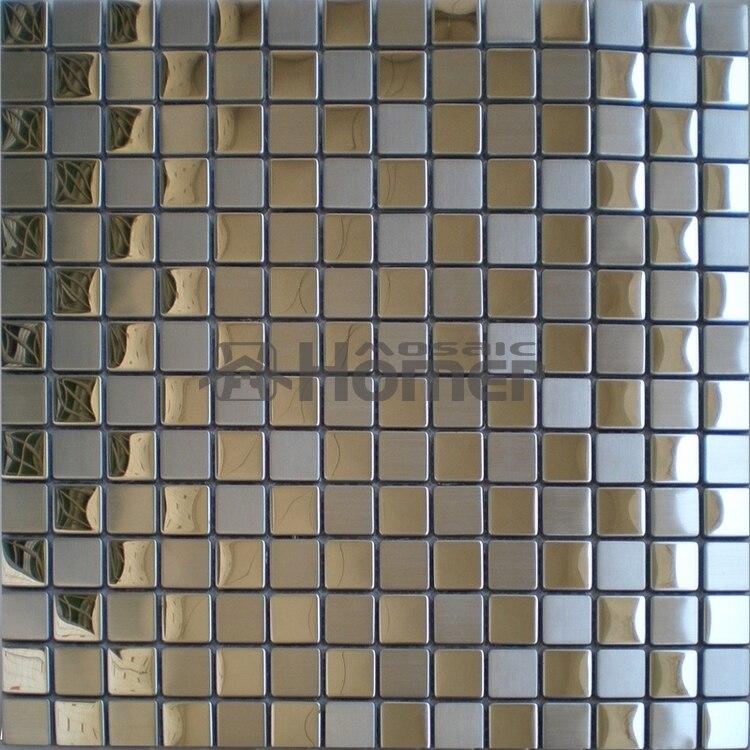 Mosaico de acero inoxidable de 20x20mm azulejo de pared de Metal para cocina baldosas para salón de sol mosaico de pared