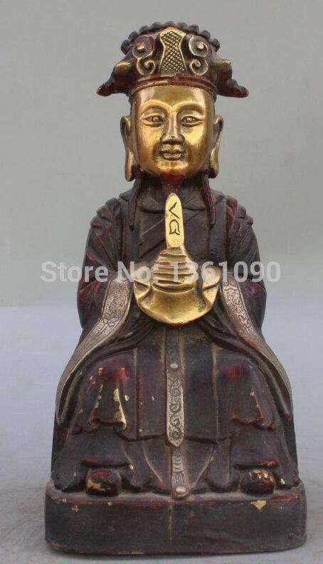 """Xd 002642 10 """"asiento dorado de bronce chino, estatua de oficial de Dios de la riqueza aduanera Mammon"""