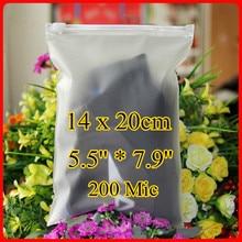 Free Shipping 200pcs/lot 14cm*20cm*200mic Frosted Plastic Bag, Christmas Clothes Bag, Plastic Zipper Bag, Resealable Plastic Bag