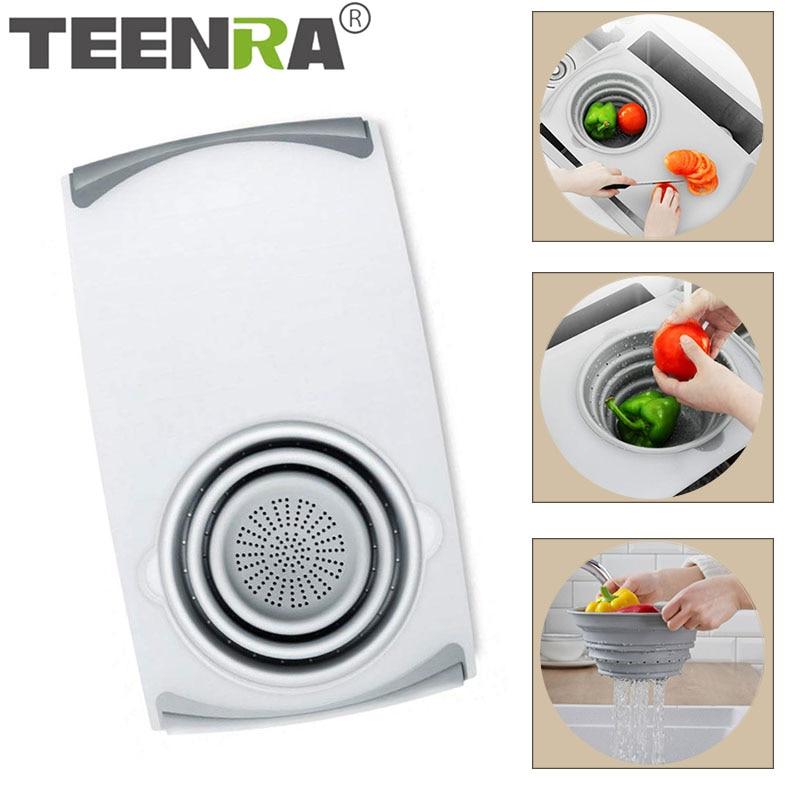 TEENRA multifunción cocina picar bloques escurridor Rectractable tabla de cortar cesta de verduras y frutas herramientas de cocina