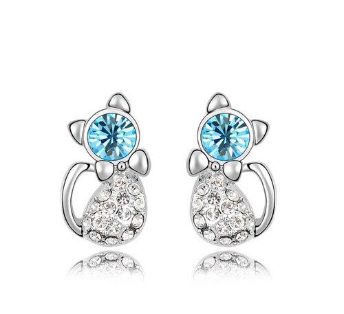 Bonitos y románticos pendientes de gato con pasador para oreja, regalos de joyería a la moda, accesorios para mujer, calidad AAAA + diamantes de imitación de cristal