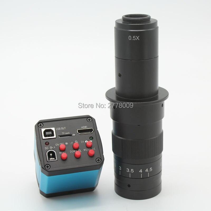 Livraison gratuite 14MP HDMI USB numérique industrie vidéo Microscope caméra lentille TF carte enregistreur vidéo + 10X-180X c-mount lentille