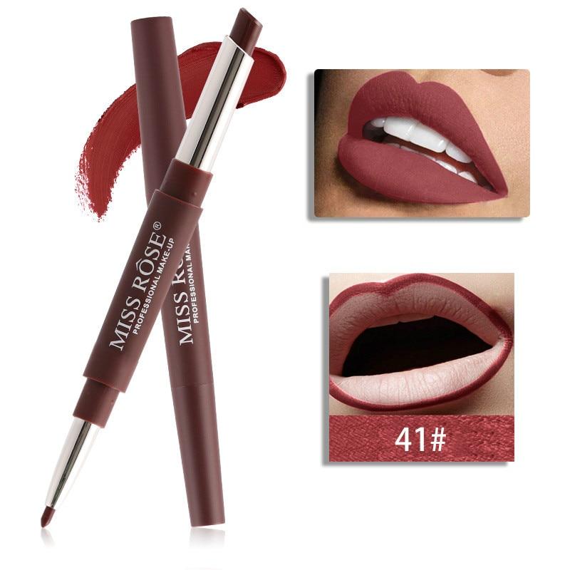 1 Uds lápiz labial 2 en 1 Sexy de 20 colores lápiz labial mate lápiz labial hidratante impermeable lápiz labial duradero delineador labial maquillaje #41