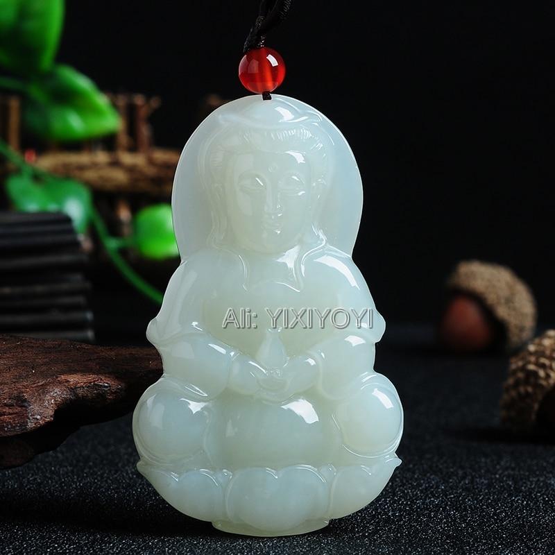 Hermoso Jade blanco HeTian tallado bendición China GuanYin colgante de la suerte + collar libre certificado joyería fina