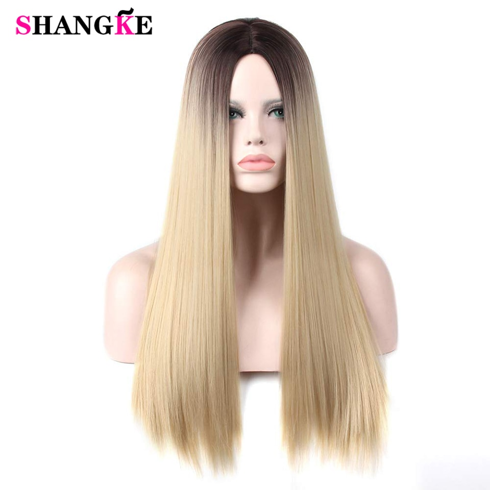 SHANGKE Long Straight Synthetic Two-Tone Middle Part Wig Water Wave Heat-Resistant Fiber Cosplay Wig For Women Party/Daily Wig