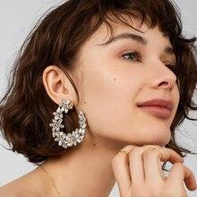 FASHIONSNOOPS luxe brillant fleur goutte boucles doreilles bijoux boucle doreille offre spéciale bohème ronde pendentif Dangle boucle doreille cadeaux de mariage