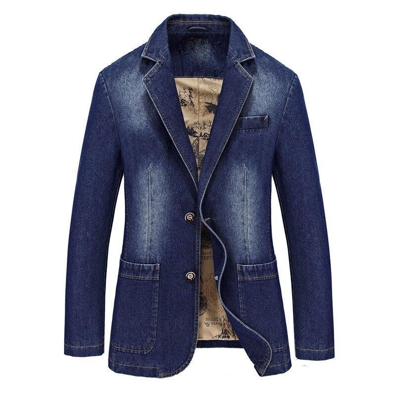M-4XL Male Casual Varsity Denim Blazer Cotton Jacket Men Autumn Winter Fashion Brand Windbreak Business Warm Jean Long Coat