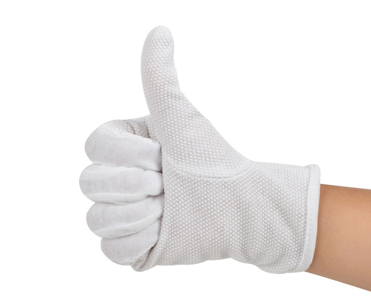10 Pair / lot , Non-slip Cotton gloves driver skid latex point gloves White beads Work wear resistant labor protection ritual latex gloves security protective five fingers wear resistant non slip 1 pair red and yellow for casting metallurgical