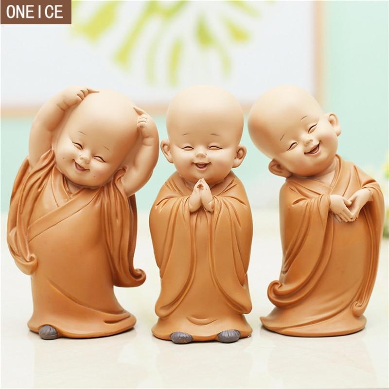 Pequeno monge escultura estilo chinês resina mão-esculpida estátua de buda decoração para casa acessórios dom estátua pequena estátua de buda