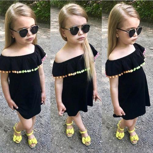 Off Shoulder Baby Children Girls Summer Dress Rainbow Tassel Fashion Mini Dress For Little Ladies Cute Girls Princess Dress