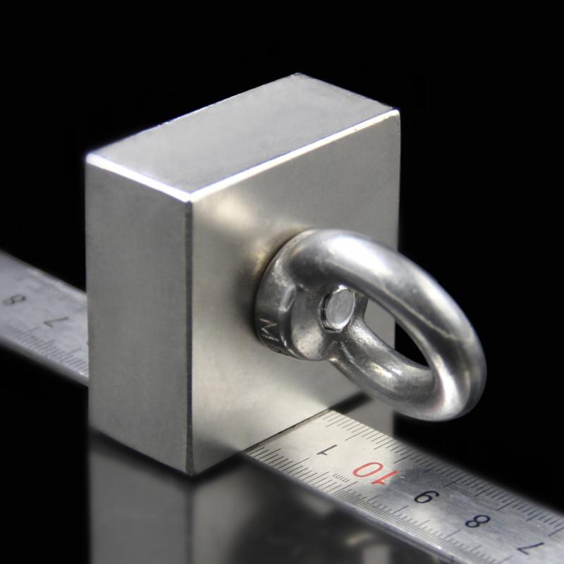 سوبر قوية طين نادر قوي كتلة حفرة المغناطيس النيوديميوم N52 مغناطيس 50*50*25 مللي متر (45x45x21 مللي متر)