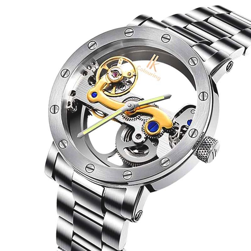 IK-ساعة يد رجالية ، ميكانيكية ، أوتوماتيكية ، ملونة ، مجوفة ، مضيئة ، عصرية ، سوار من الفولاذ المقاوم للصدأ