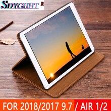 Nuevo iPad aire caso de iPad 2 aire iPad pro 2017 caso 2018 de 9,7 pulgadas Anti-con vetas de madera real de cuero de la PU cubierta inteligente caso Auto despertar caso de la cubierta