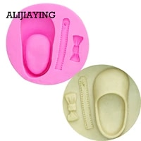 m0094 cute baby shoes bow silicone cake molds chocolate clay candy mold fondant cake decorating tools