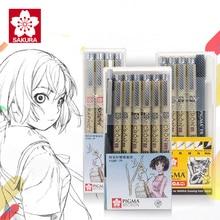 SAKURA Wasserdicht Nadel Stift Volle Größen Cartoon Comic Design Skizze Nadel Für Zeichnung Pigma Micron Liner Pinsel Haken Linie Stift