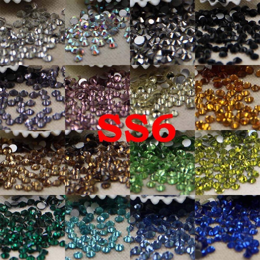 SS6 24 colores 3D vidrio de Arte de uñas Rhinestone sin Hotfix Flatback pegamento en diamantes de imitación para arte de uñas DIY