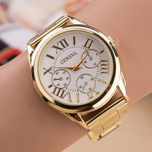 Relogio Feminino Luxury Brand Quartz Watch Women Fashion 3 Eyes Gold Geneva Watches Casual Stainless Steel Dress Wristwatches