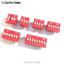 Module de commutateurs Type glissière   1 2 3 4 5 6 7 8 broches, Position de 2.54mm, voie DIP rouge, interrupteur à bascule rouge, interrupteur à cadran 10 pièces