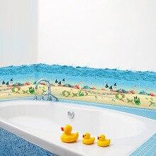 ^ % Autocollants muraux pour plinthes   Autocollants de mer bleue, chambre à coucher denfants, cuisine, salle de bains, 3d amovible, décor de maison