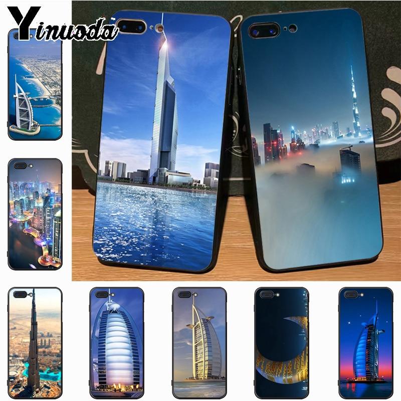 Yinuoda Dubai City Architectural landscape Special Offer Luxury Vertical case for iPhone 7plus 6S 7  8 8Plus X 5S 11pro case