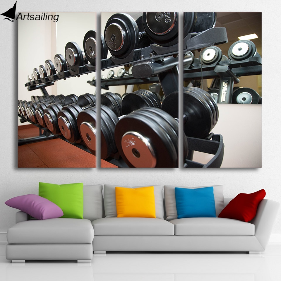 HD Printed 3 piece canvas art gym dumballs fitness equipment poster canvas painting wall pictures for living room CU-1520C