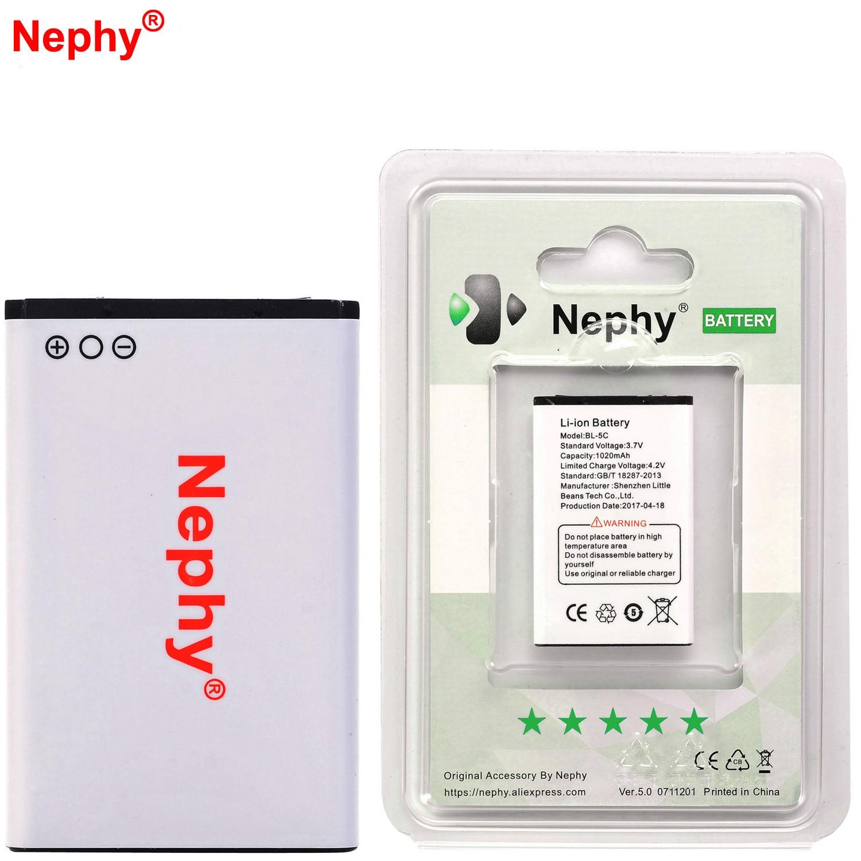 Marca nephy BL-5C batería para Nokia N70 N71 N72 N91 1650, 2300, 2310, 2330, 2600 2700c 2730c 3100, 3120, 3650, 6030, 6600, 6263 E50 E60