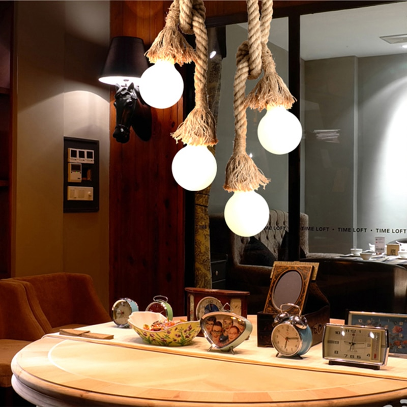 Lámparas colgantes clásicas lámpara con cuerda de cáñamo E27 Loft creativo DIY colgante Industrial lámpara Led iluminación interior negra decoración de luminaria