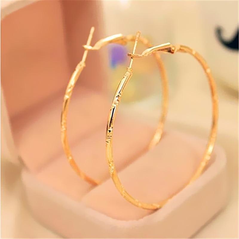 Women Girl's Fashion Pattern Big Hoop Earrings Sexy Earrings Accessories Exaggerated Hoop Ear Loop Smooth Circle