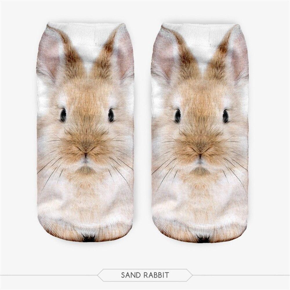 Vente chaude Meias homme femmes chaussette décontracté mignon Harajuku drôle Animal lapin chaussettes unisexe bas coupe cheville chaussettes multiples couleurs 3D chaussettes