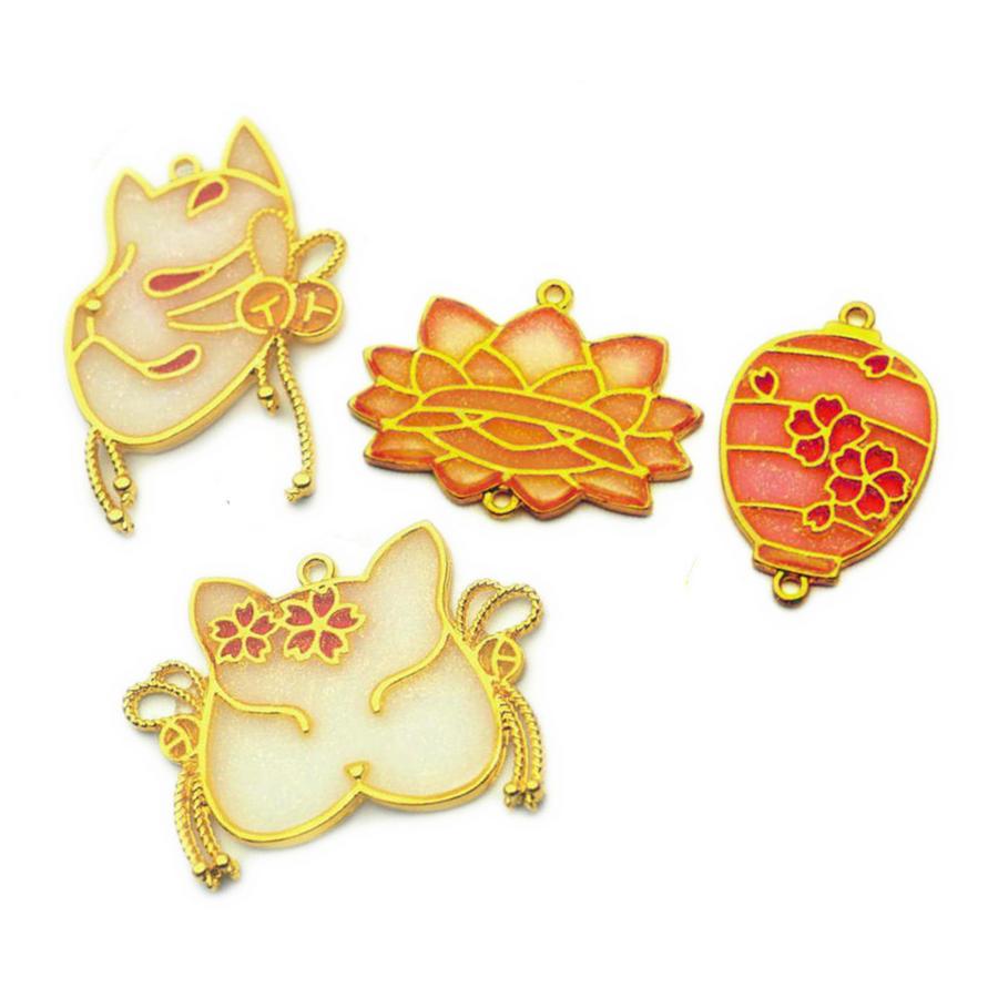 5 uds linterna Sakura decoración joyería marco de Metal resina UV DIY accesorios artesanía Vintage Fox máscara abierto biseles colgantes herramienta