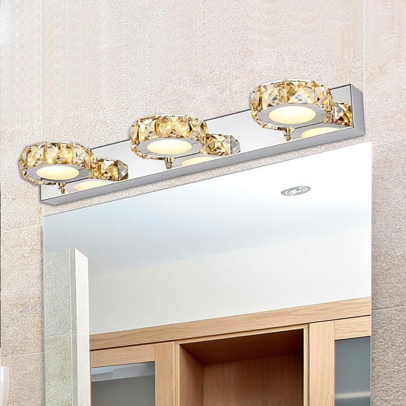 Candelabro moderno de pared cristal claro Led espejo Headlig LED lámparas de baño 9w 12w aplique de pared luz del hogar