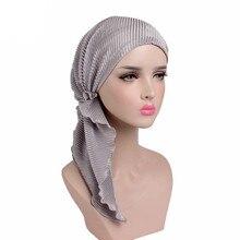 Bonnet Turban à volants pour femmes musulmanes   Écharpe en coton, bonnets de Chemo, bonnets de chimiothérapie, Bonnet Bandana, foulard pour tête, enveloppe de cheveux, perte de cheveux