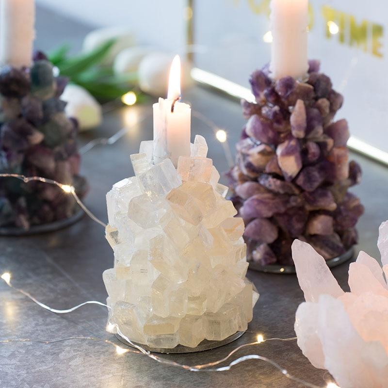 Estatuilla de piedras preciosas para decoración del hogar artesanías de piedra verde/claro portavelas de Color Piedra Natural decoración regalo