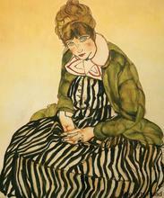 Tableau de Portrait féminin dedith Schiele   Peinture murale, en toile, peinte à la main, assise avec robe rayée, Egon Schiele, 1915