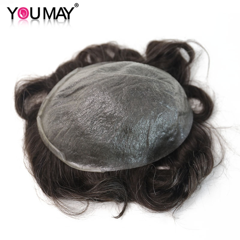 Ultra Thin PU Men's Wig Toupee Skin Invisible Hairpieces Replacement V-loop PU System Men Human Hair Wigs #220 8X10 You May