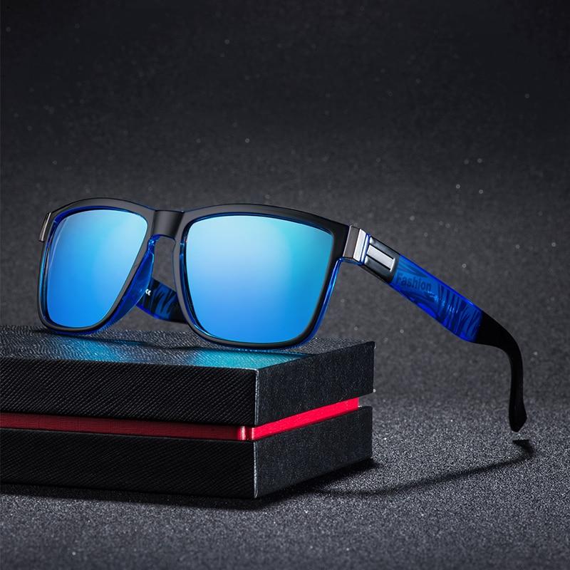 Quadrado polarizado óculos de sol masculino vintage condução esporte 100% proteção uv moda óculos de sol cor espelho para homem