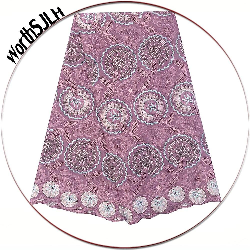 Dubai Nigerian Latest Lace Fabric 2020 Lilac Aqua Swiss Voile Dry Lace Fabrics High Quality Cotton Lace Fabric For Wedding