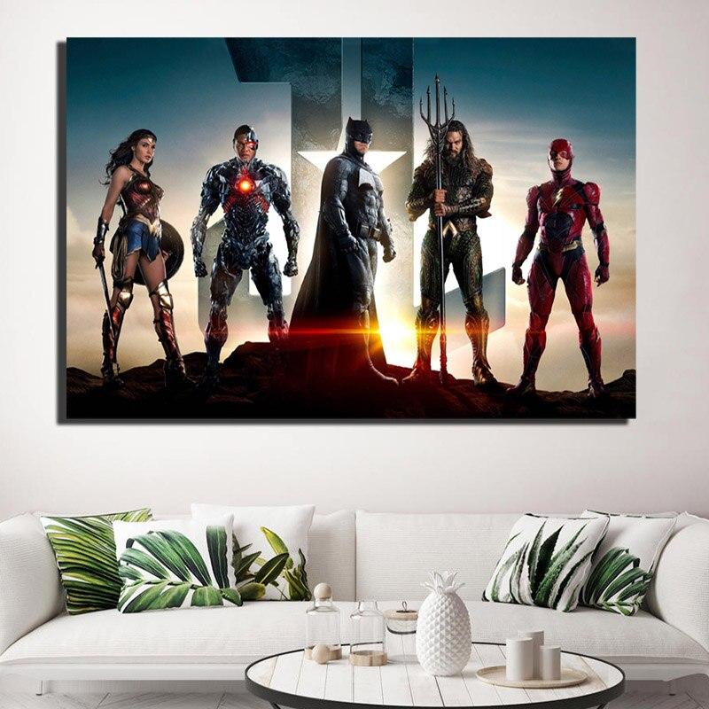 Póster en lienzo de la Liga de la justicia de DC, Batman, Wonder Woman, Aqua Superman, Cyborg, impresión de imagen de pared, decoración del hogar, dormitorio